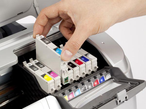 Close-up eight colors printer
